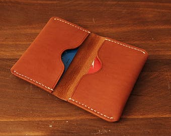 100% Handmade-stitched Vegetable Tanned Leather Card Case