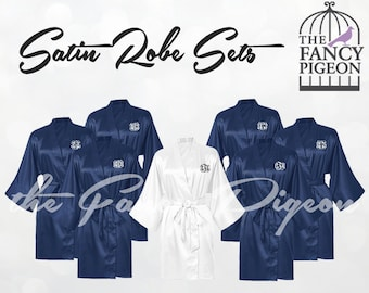 NAVY SATIN ROBES - Getting Ready Robes - Kimono Robe - Personalized Robes - Silk Bridesmaid Robes - Silk Robe - Spa Robes - Bridesmaids Robe
