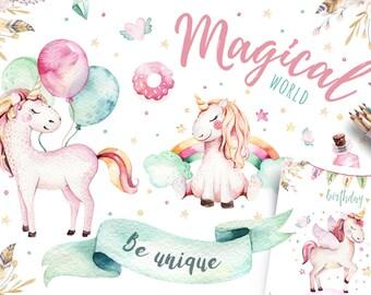Watercolor nursery unicorn clipart. Digital kids illustration. unicorns magic poster. Princess cartoon horse design. Lovely cute pink animal