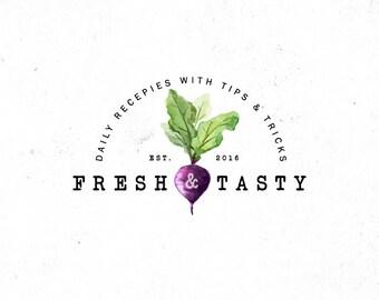 Organic Food Logo Watercolor Food Logo Watercolor Veggie Logo Beets Logo