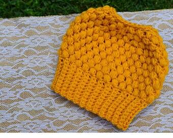 Crochet Messy Bun Beanie, Crochet Bun Hat, Crochet Hat, Messy Bun Hat