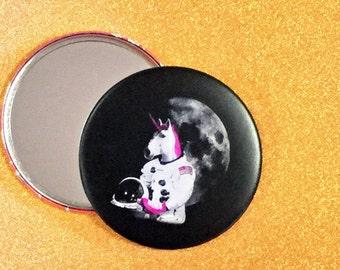 3.5 Inch Unicorn Purse Mirror - Roller Skating Unicorn Astronaut Mirror - Roller Derby, Pocket Mirror, Compact Mirror, Unicorn Mirror