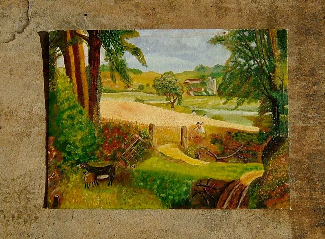 Painting of Rural England Original Art Primitive Landscape Oil