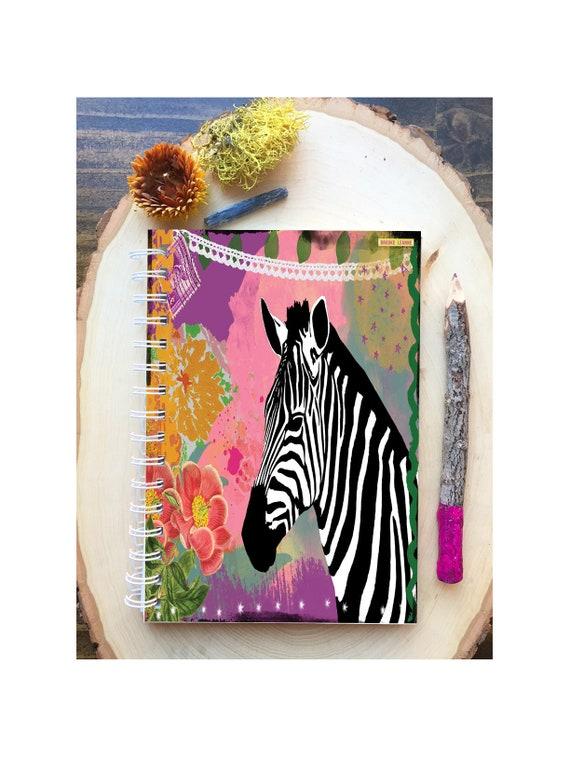 Zebra Spiral Bound Notebook - Colorful Yoga  - Hard Notebook - Spiral Journal - Back to School - Gift -  Zebra Journal