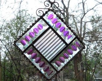 Stained Glass Beveled Quilt Suncatcher, Dichroic Beveled Panel, Beveled Quilt Stained Glass Suncatcher, Stained Glass Suncatcher