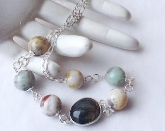 Laboradite Necklace. Labradorite Necklace. Sterling Silver Necklace. Jasper Necklace. Agate Beaded. Short Necklace. Blue Necklace.