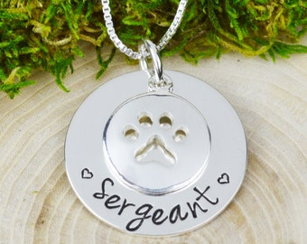 Custom Sterling Silver Dog Necklace - Pet Jewelry