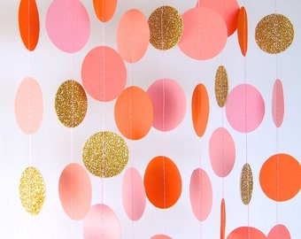 Garland, Paper Garland in Blush Pink, Orange, Coral and Gold, Double-Sided, Bridal Shower, Baby Shower, Party Decorations, Birthday Decor