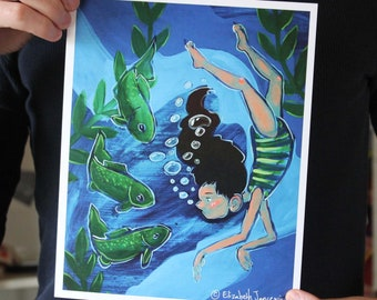 Girl Talking with Fish; Fine Art Print