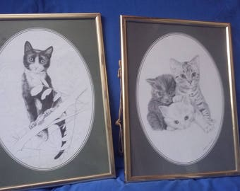 2 Large Cat Prints. Vintage Retro 1978