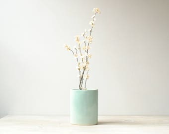 Vintage Flower Vase, Green Vase, Round Vase, Modern Vase