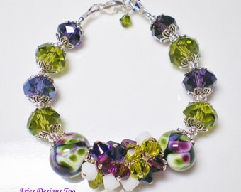 Plum, Olive Green and White Abstract Cluster Bracelet with Large Crystal Rondelles and Clusters of Swarovski Crystals