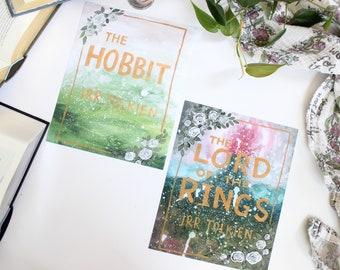 Hobbit and LOTR Book Covers ART PRINT - Set of 2