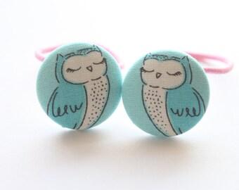 Sleepy OWLS-------2 ponytail holder set