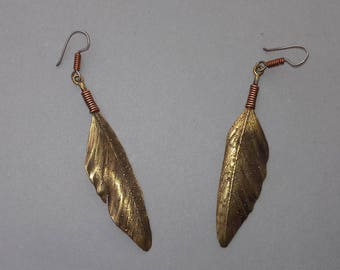 Bronze Feather Drop Earrings,   Native Style Earrings,  Bird Feather Earrings, Nature Earrings
