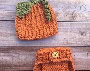 Baby Boy Pumpkin Hat and Diaper Cover Set,baby pumpkin outfit, photo prop, Halloween costume, newborn pumpkin photo prop