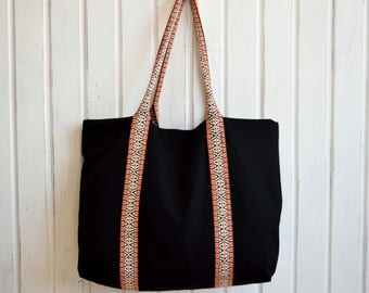 Fabric Handbag,Black Canvas Tote Bag,Boho Tote Bag,Black Canvas Tote,Canvas Purse,Black Shoulder Bag,Black Canvas Tote Bag,Everday Tote Bag