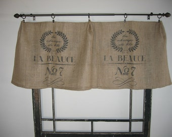 French Feed / Grain Sack / Bag Burlap Valance Curtain Panel