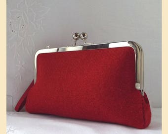 Harris Tweed clutch bag, red clutch purse with wristlet, evening bag, handmade with teal silk lining, optional personalisation