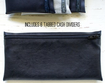 Men's cash envelope system budget wallet with 6 tabbed dividers | black faux fused leather
