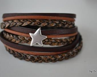 Lederen armband met ster