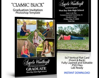 2018 Senior Invitation 5x7 Flat Card Photoshop Template CLASSIC BLACK. Graduation ceremony announcement for party invite. Vertical Photo.