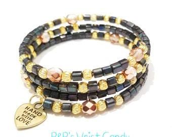 Black Gold Rose Gold Beaded Coil Wrap Bracelet, Memory Wire, Charcoal, Stretchy,OOAK, Minimalist, Custom Handmade Beaded Jewelry