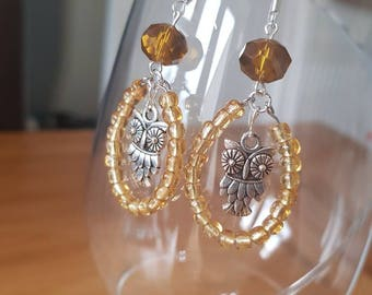 Gold Owl Dangle Hoop Earrings