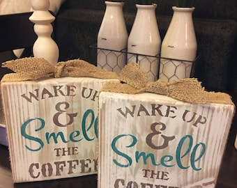 Wake Up & Smell the Coffee Distressed Painted Wooden Block with Burlap Ribbon Detail