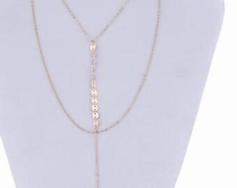 Women Chokers Sequins Long Chain Pendant Multilayer  Necklace