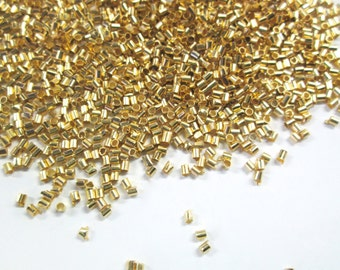 Gold Plated Brass Crimp Beads, 1.5x1.5mm with a 1mm hole G89