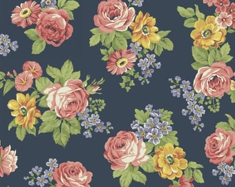 Large Floral (Navy) - Dover Flannel - Windham Fabrics - 1 Yard