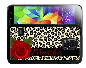 Personalize Rubber Case For Samsung Note 3, Note 4, Note 5, or Note 8- Leopard Print Rose