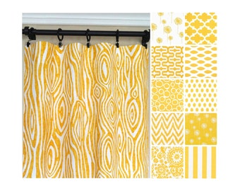 Yellow Window Curtains.Yellow Curtains.Kitchen Curtains.Yellow Curtain Panels.Yellow White Drapes.Yellow Drapery.Nursery Drapes