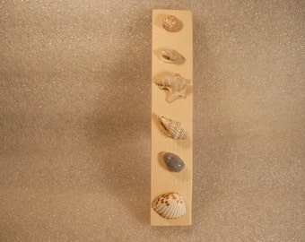 Wood Hand Made Crafted Picture Strip with Real Shells no#4
