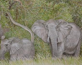 Elephant Painting, Original Pastel Art, Elephant Art, Original Art, African Elephants, Elephant Wall Art, Animal Painting, Africa Artwork