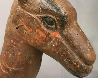 Folk Art Wood Carved Camel Head