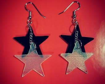 Star Shaped Vinyl Record Earrings