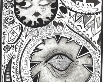 Sacred Eye Art Print- Black and White, Abstract, handmade, original