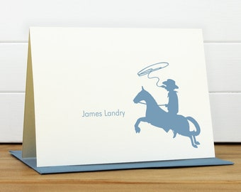 Personalized Stationery Set / Personalized Stationary Set - COWBOY Custom Personalized Note Card Set - Kids Stationery Boy New Baby