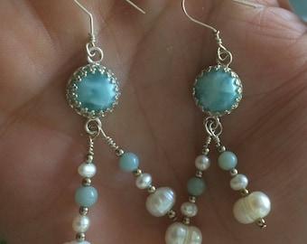 Sterling Silver & LARIMAR Drop Earrings // Blue Amazonite // Freshwater Pearls // Dangle Earrings // Gallery Bezel
