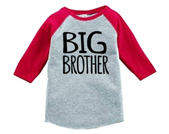 Big Brother Jersey Shirt-3/4 or long sleeve relaxed fit raglan baseball shirt-pick your colors!