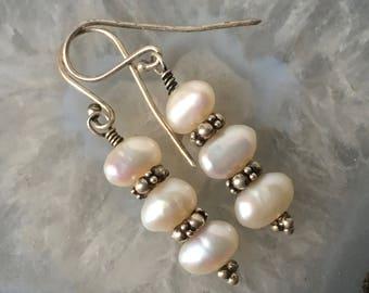 Freshwater Pearl Earrings, White Earrings, Hill Tribe Silver Earrings, Boho Earrings, Boho Style, Classic Pearl Earrings, Small Earrings