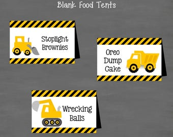 INSTANT DOWNLOAD Construction Birthday Food Tents Labels (Buffet Cards)--DIY Printable; Construction Dump Truck Yellow Black Boys