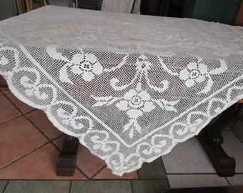 """Ecru Filet Lace Cotton Tablecloth Square 58"""" Vintage 1930s Art Deco Scrolling"""