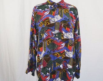 Funky Shapes Colorful Vintage Long Sleeve Shirt