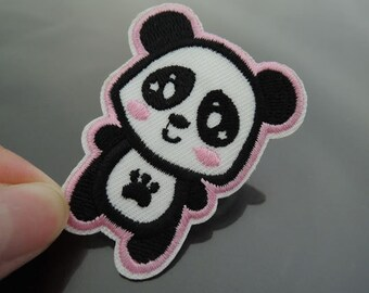Cute Panda Patch Animal Cartoon patches Panda patch Applique embroidered patch Iron On Patch Sew On Patch