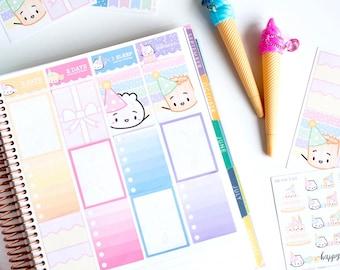 """STICKER KIT // Birthday Kit - """"Bun Year Older"""" [Birthday Planner Kit, Birthday Stickers, Character Stickers, Planner Accessories] - S151"""