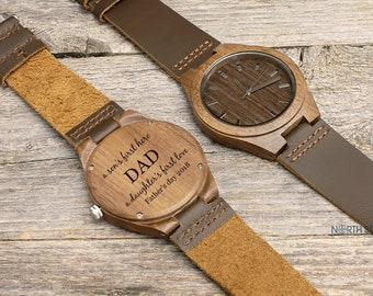 Father's day gift, First Father's day, Engraved Wooden Watch, Mens Wood Watch, Personalized Watch, Gifts for Him, Husband gift Leather Watch