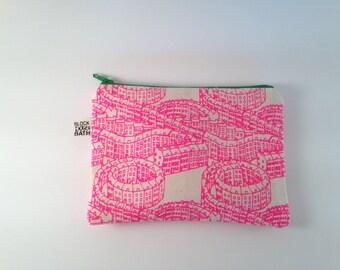 House pattern zip pouches, handprinted in Bath, Georgian city spiral pattern